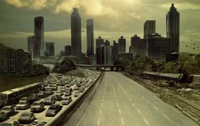 car, The Walking Dead, road, city, destruction