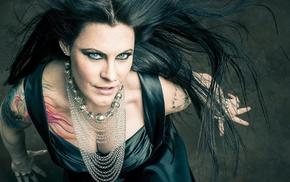 girl, singer, long hair, brunette, rings, Floor Jansen
