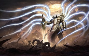 digital art, Diablo III, Diablo, fantasy art, Tyrael, video games
