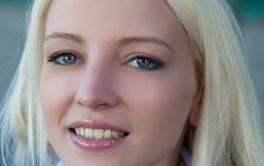 smiling, green eyes, girl, blonde, Alysha A