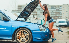 STI, Subaru, girl, model, Irina Vysockaya, car