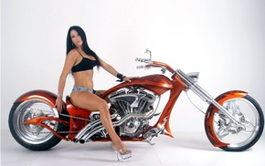 high heels, motorcycle, girl, model, jean shorts