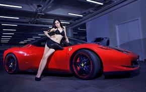 model, Asian, Ferrari, sports car, girl