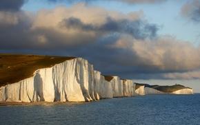 coast, Seven Sisters, England, cliff, sea, landscape