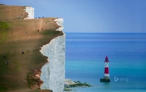 England, cliff, nature, landscape, coast, Seven Sisters