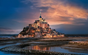 old building, castle, building, France, Mont Saint, Michel