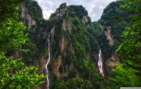 forest, nature, landscape, waterfall