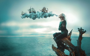 war, girl, drawing, fantasy art, sailing ship, digital art