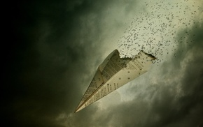paper planes, digital art, fantasy art