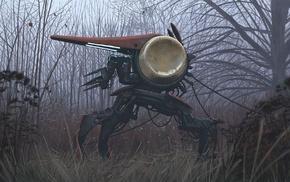 Simon Stlenhag, robot, drawing, futuristic