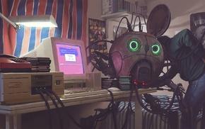 robot, cyberpunk, Simon Stlenhag, The Prodigy, drawing
