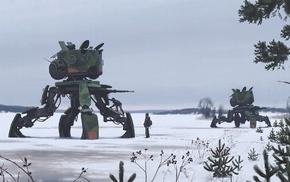 robot, Simon Stlenhag, apocalyptic, drawing, futuristic