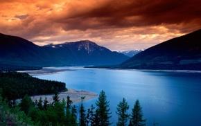 green, mountain, clouds, lake, gold, sunset