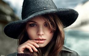 portrait, brunette, girl, looking at viewer, face, Georgiy Chernyadyev