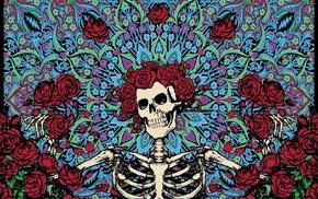 skull, rose, Dia de muertos, skeleton