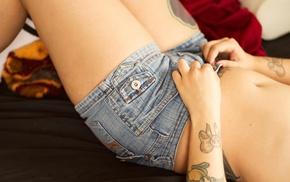 girl, jean shorts, hot pants, tattoo