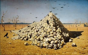 desert, Vasily Vereshchagin, painting, drawing, classic art, The Apotheosis of War