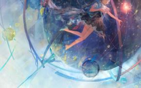 Vocaloid, Hatsune Miku, long hair, ribbon, dress, floating