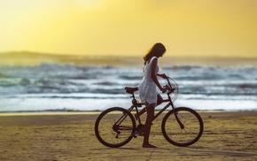 sea, bicycle, girl, beach, model