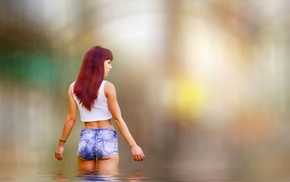 girl, redhead, ass, river, model, jean shorts