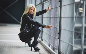 Angela Kutscher, model, blonde, girl, Black clothes