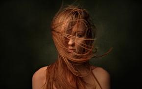 portrait, hair in face, face, girl, model, redhead