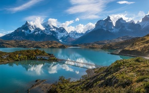 blue, Chile, Patagonia, mountain, Torres del Paine, hotels