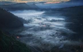 mist, valley, Indonesia, field, cityscape, mountain