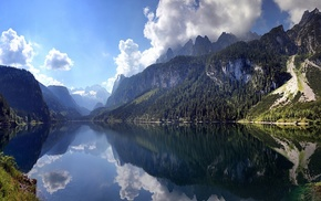 Austria, clouds, nature, water, cliff, forest