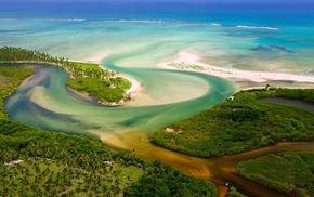jungles, beach, Brazil, landscape, aerial view, sea