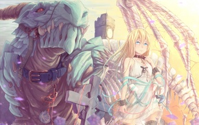 blonde, blue eyes, original characters, dragon
