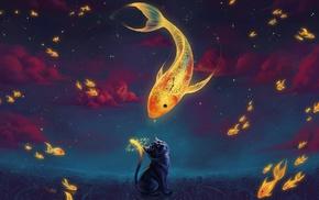 cat, cartoon, clouds, artwork, clocks, goldfish
