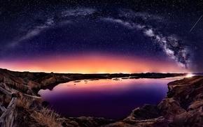 Milky Way, long exposure, bay, nature, fence, coast