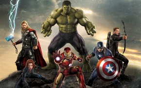 Thor, Hulk, Hawkeye, Captain America, Black Widow, Iron Man