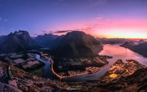 mountain pass, river, nature