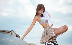 short skirt, Amelie, girl, model, high heels