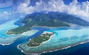 panoramas, clouds, aerial view, mountain, tropical, beach
