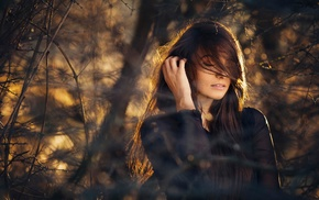 portrait, twigs, model, girl, girl outdoors, closed eyes