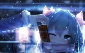 winking, Hatsune Miku, snow, Vocaloid, scarf, can