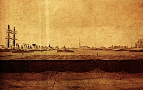old, sepia, filter, rooftops, industrial