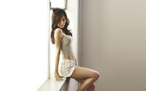 model, Yoo In Na, window, South Korea, jean shorts, girl