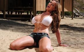 girl, Jordan Carver, model, jean shorts, sand