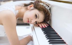 Asian, brunette, girl, white dress, piano