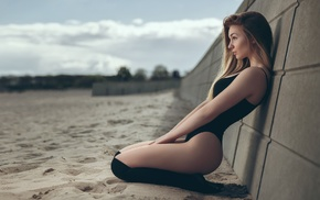 girl, girl outdoors, black swimsuit, model, sand, beach