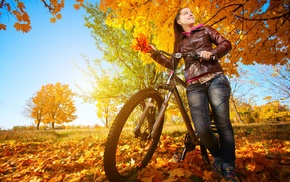 bicycle, nature, trees, girl, model