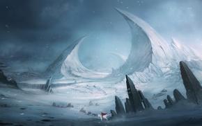 red, fantasy art, landscape