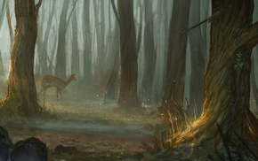 fantasy art, forest, deer