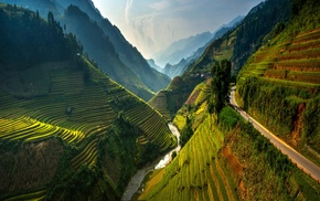 spring, road, Vietnam, mountain, nature, river