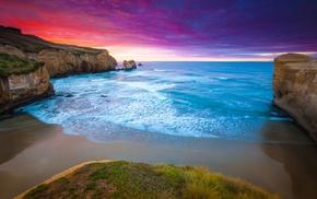 coast, cliff, blue, landscape, water, sunset