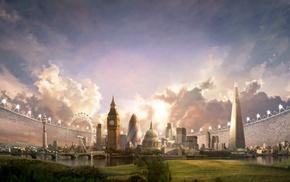 grass, landscape, clouds, architecture, stadium, skyscraper